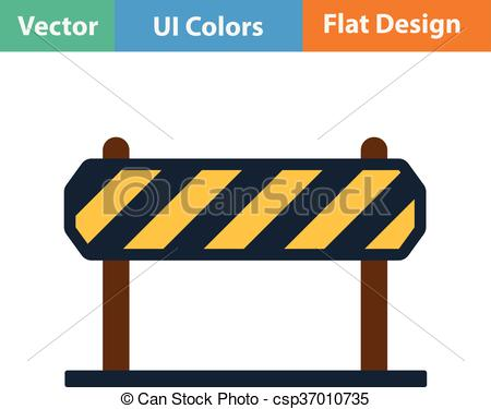 Vectors of Flat design icon of construction fence in ui colors.