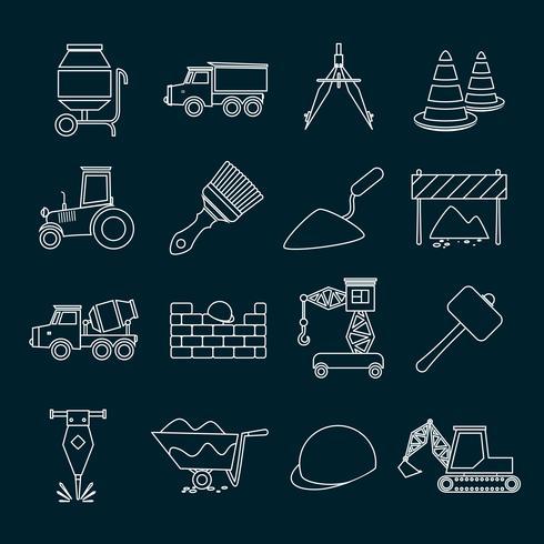 Construction icons set outline.