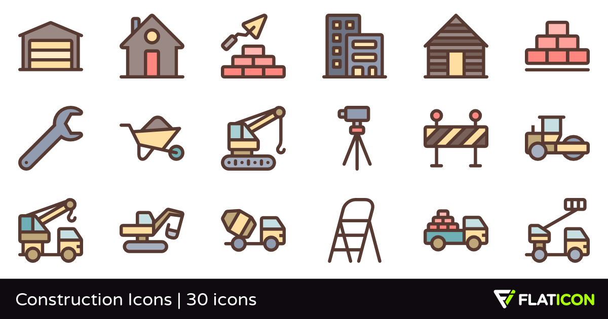 Construction Icons 30 free icons (SVG, EPS, PSD, PNG files).