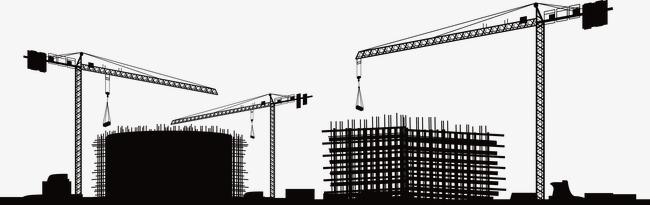 Construction Site Silhouette, Factory, C #2138.