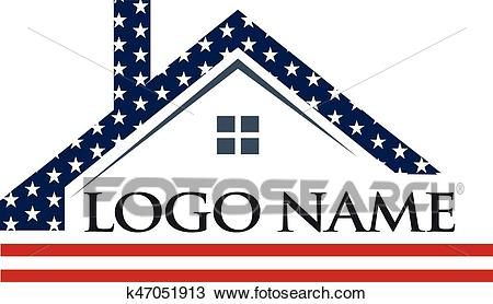 American Roof Construction Logo Illustration Clipart.