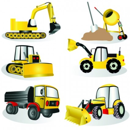 Construction equipment vector clipart.