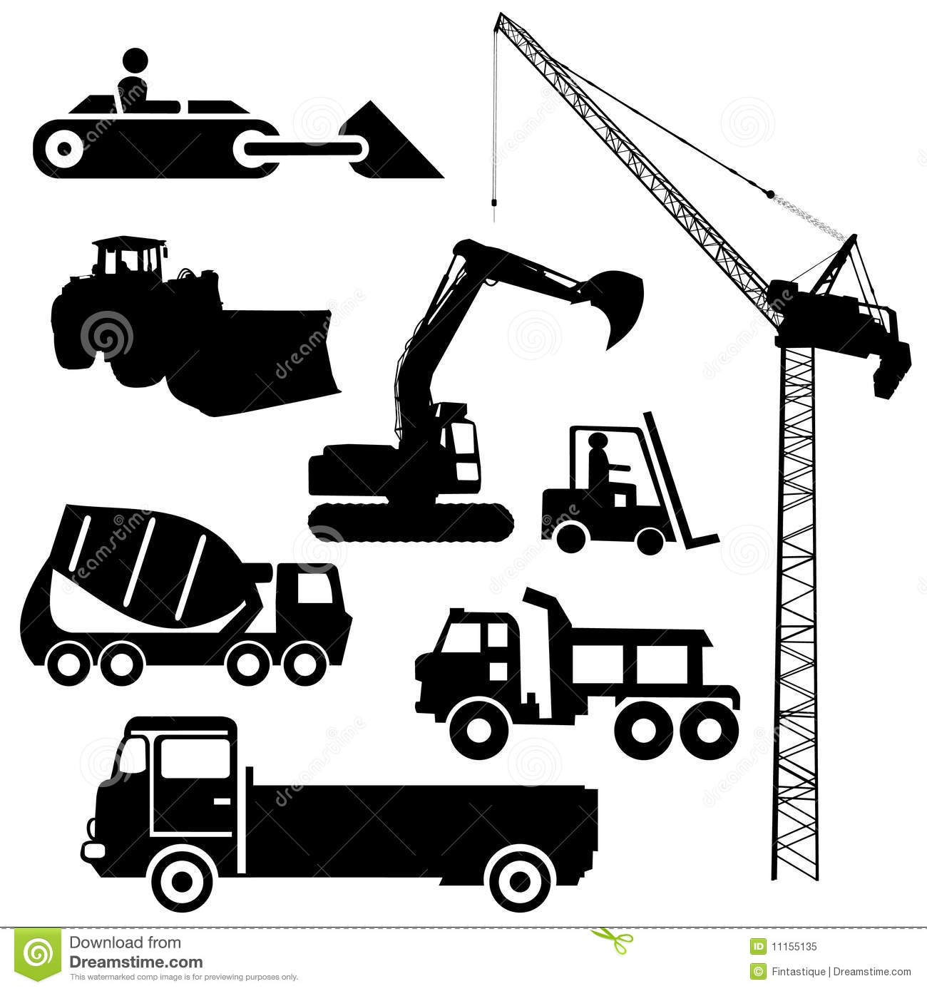 Construction Machinery Silhouettes Royalty Free Stock Photo.