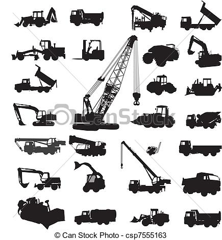 Construction machinery clipart.