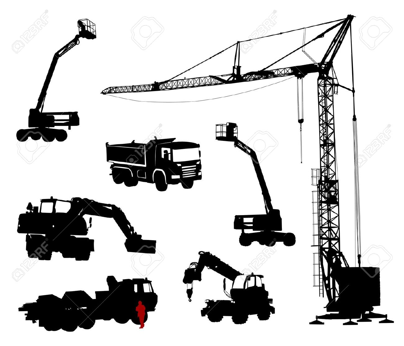 Detailed Silhouettes Of Construction Machinery. Royalty Free.