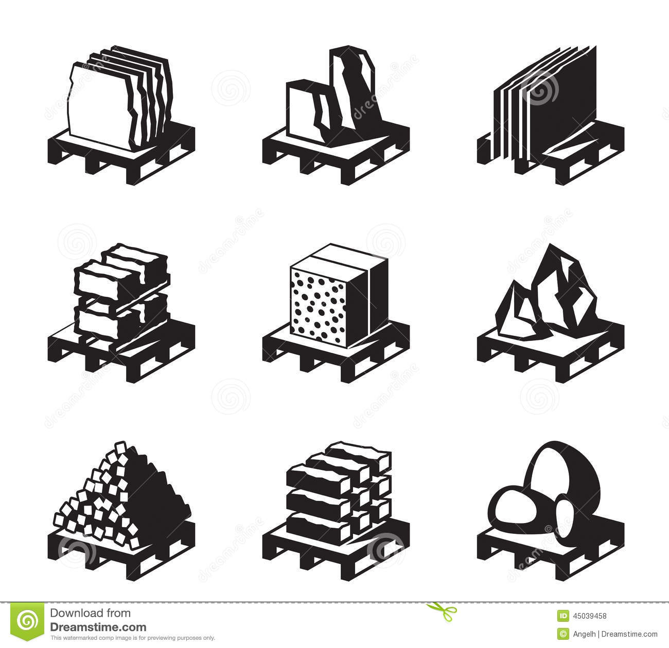 Various Construction And Building Materials Stock Vector.