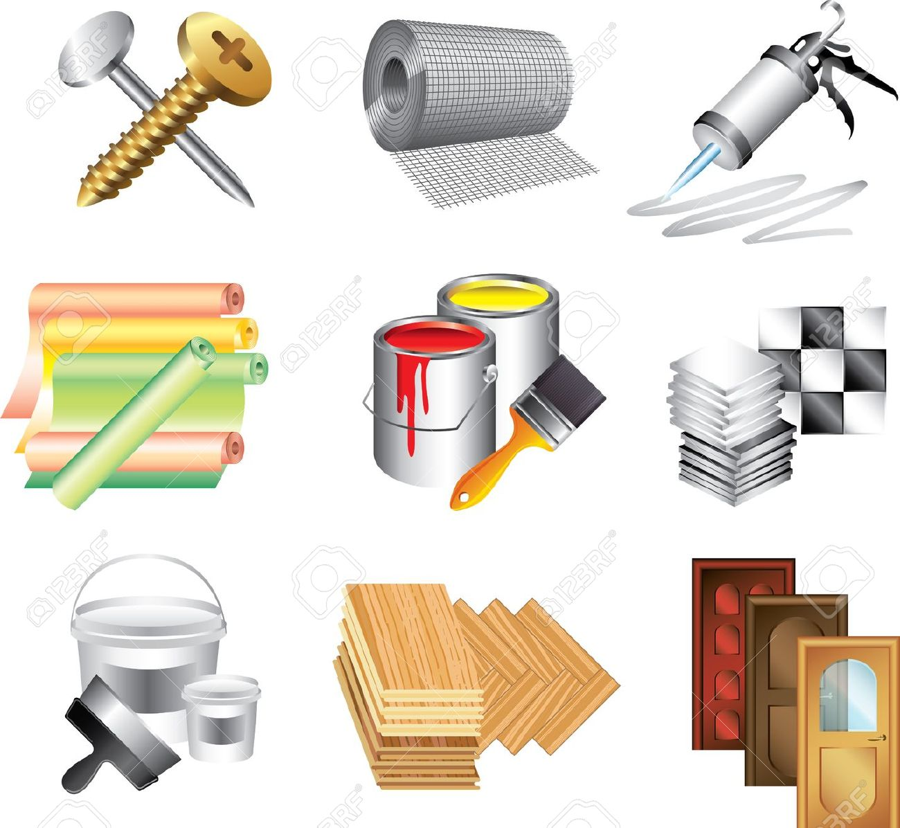 Building Materials Icons Detailed Vector Set Royalty Free Cliparts.