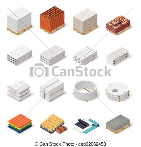Clipart Vector of Construction materials isometric icon set.