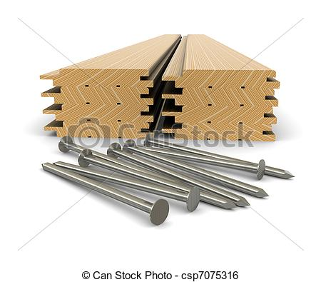 Stock Illustration of Lumber and nails.