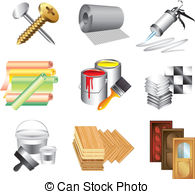 Construction materials Vector Clipart EPS Images. 22,100.