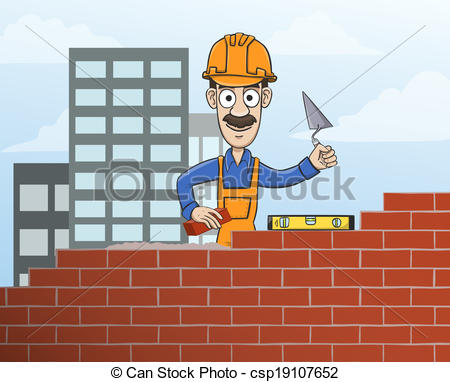 Clipart Vector of Mason building red brick wall.