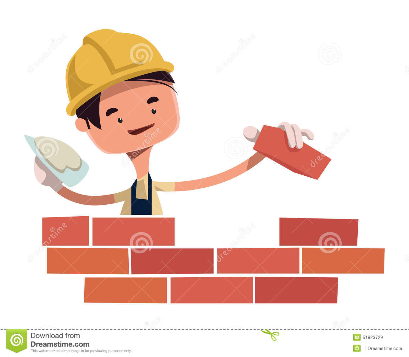 Construction Worker Building Wall Illustration Cartoon Character.