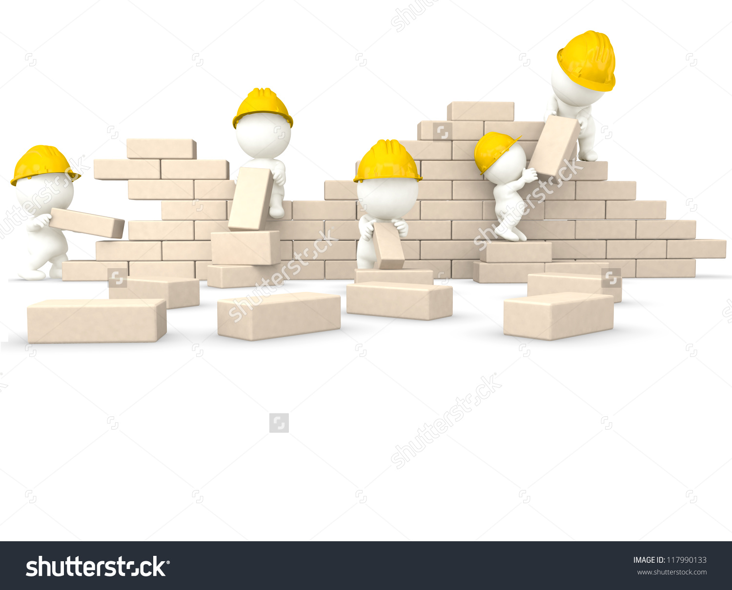 3d Construction Guys Building A Wall.