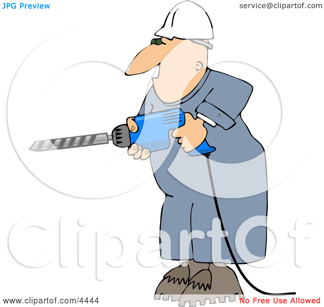 Male Construction Worker Drilling Into a Wall Clipart by Dennis.