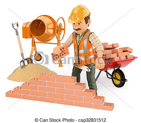 Clipart of 3D Construction worker building a brick wall.