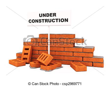Clipart of Brick wall under construction isolated over white.