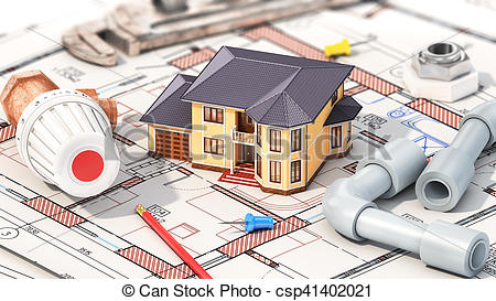 Clip Art of Construction concept. Project of heating for house.