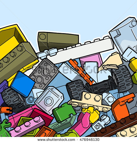 Large Collection Construction Toy Parts Stock Illustration.