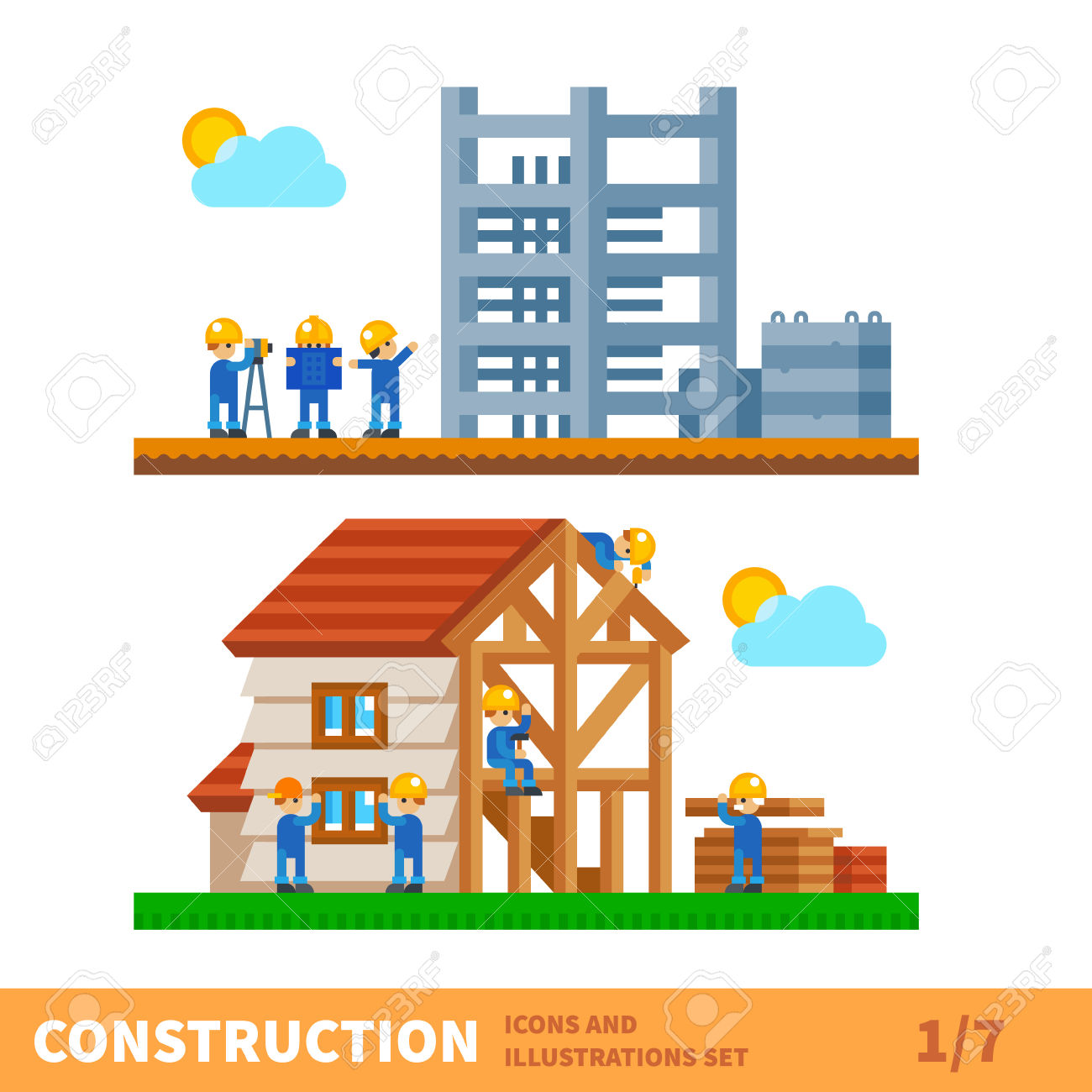 Construction workers building a house clipart.
