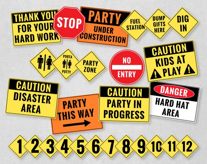 Construction Party Printables, Construction Birthday Decorations, Dump  Truck Birthday Party, Caution Sign, Construction Clipart.