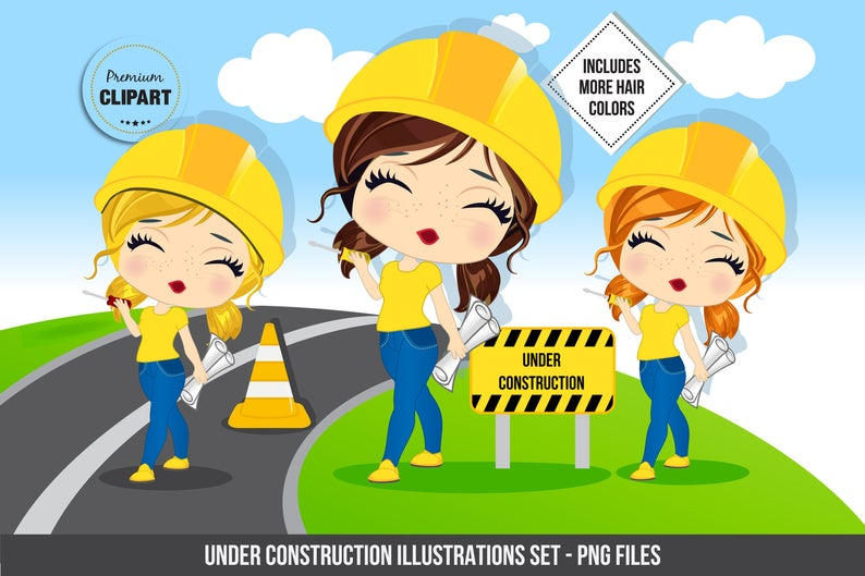 Construction birthday party, Construction clipart, Construction Girl  images, Constructions signs, Construction party, Commercial use.