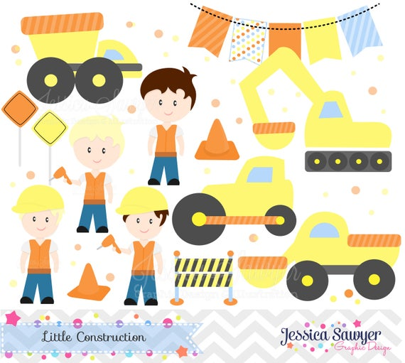 INSTANT DOWNLOAD, construction clipart, for construction party.