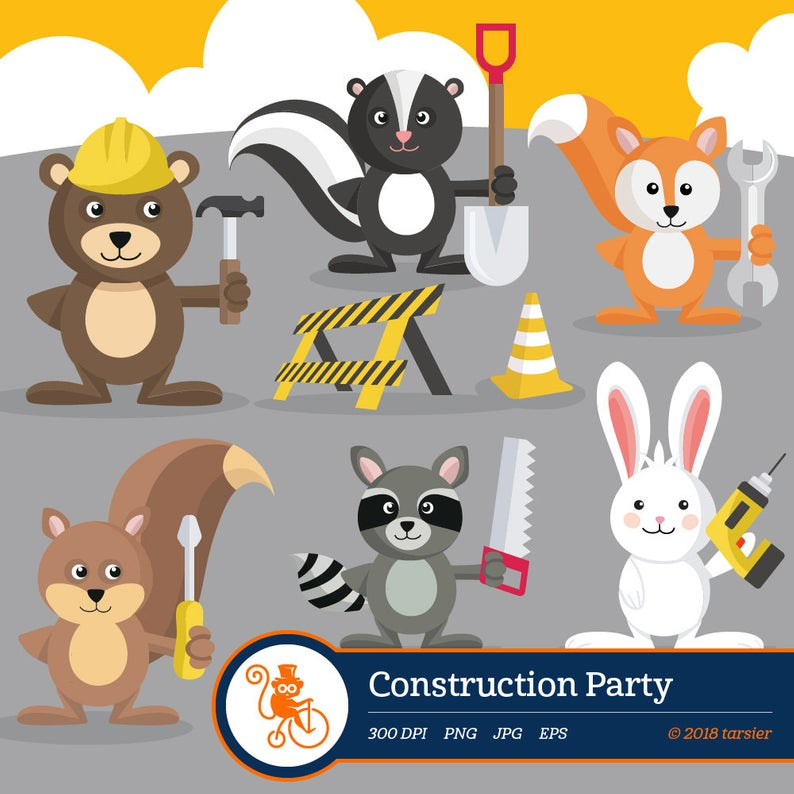 Construction Party clipart, woodland animal, vector, graphics, digital clip  art, digital images, Forest Animal Clip Art,.