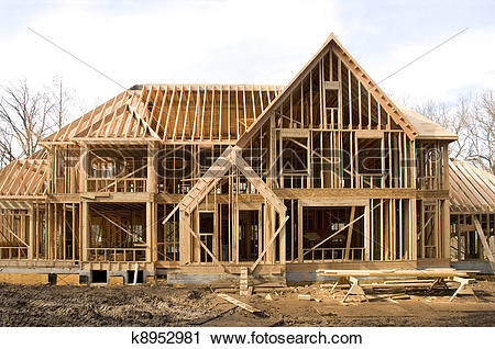 Stock Photography of McMansion type house under construction in.