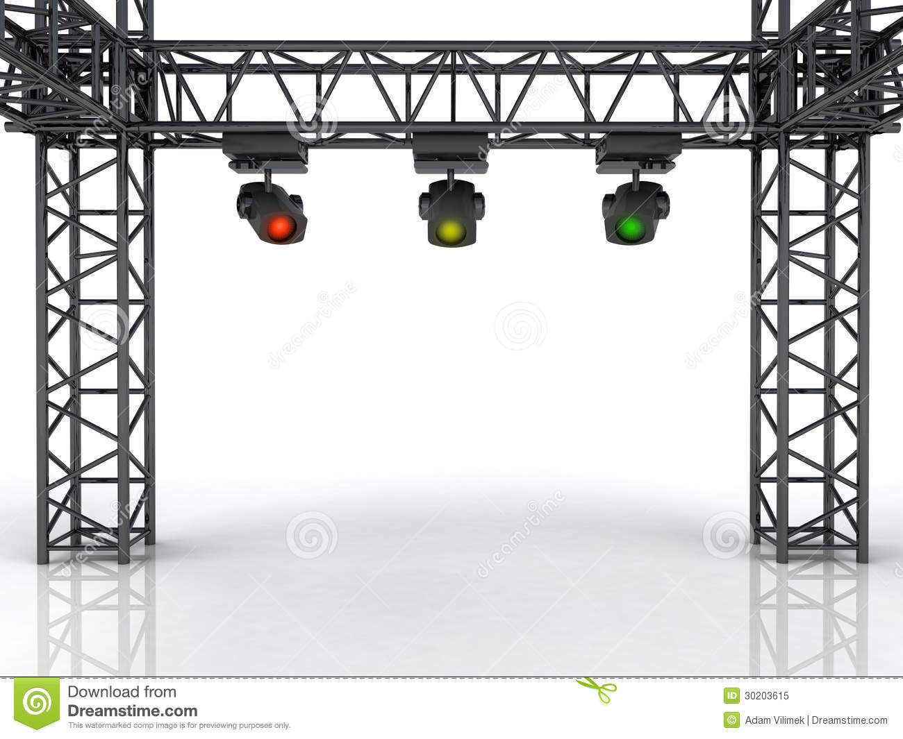 Stage Construction With Three Colorful Spotlights Royalty Free.