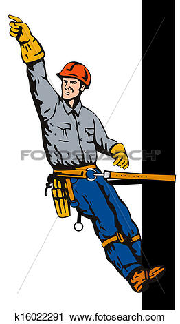 Clipart of Power Lineman on Pole k16022291.