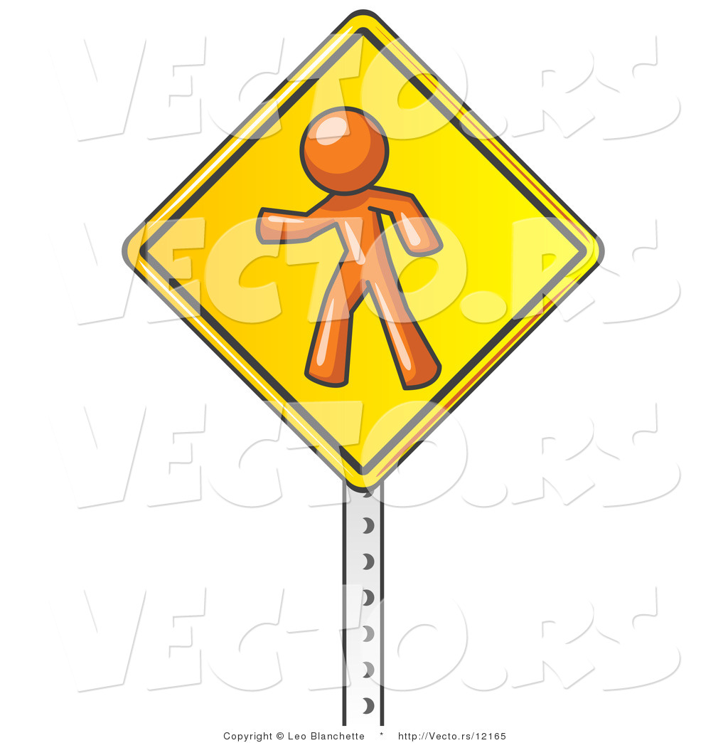Vector of Orange Guy Walking on a Yellow Traffic Sign Posted on a.