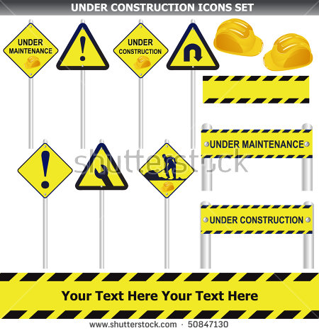 Under Construction Pole Signs Set Isolated On White Vector.