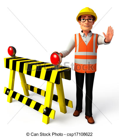 Clip Art of Worker with traffic pole.