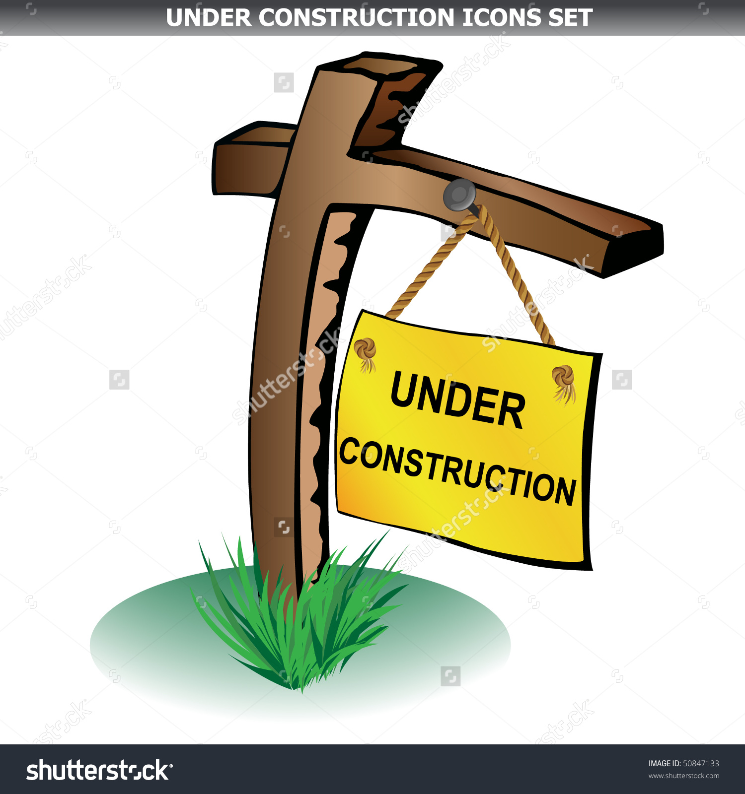 Under Construction Wood Pole Isolated On White Vector.
