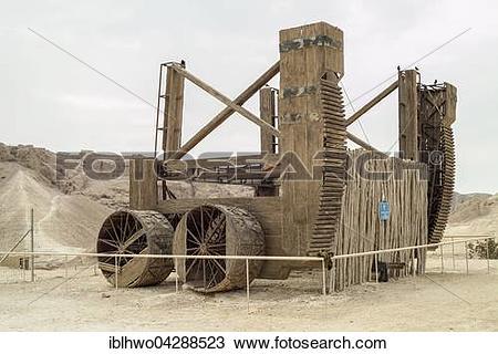 Stock Photo of Roman slingshot, replica, Masada, Jewish fortress.