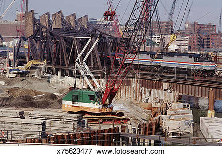 Picture of USA, Massachusetts, Boston, Big Dig construction.