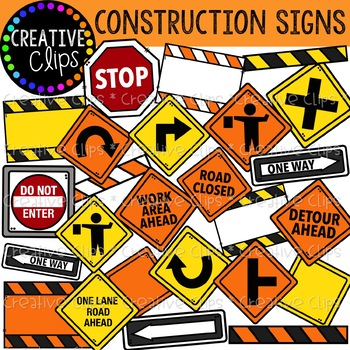 Construction Signs Clipart {Creative Clips Clipart}.