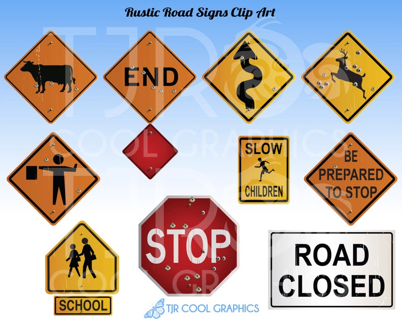 Rustic Road Signs Clipart, Construction Clip Art, Highway Signage, School  Zone, Stop Sign, Deer Crossing, Teachers, Educational, Realistic.