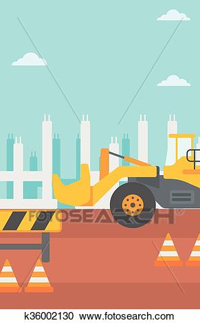Background of excavator on construction site. Clipart.