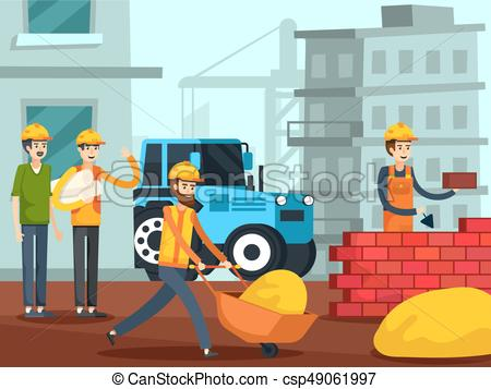 Construction Workers Characters Flat Poster.