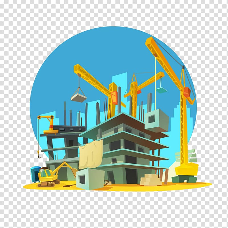 Brown crane tower beside building illustration, Architectural.