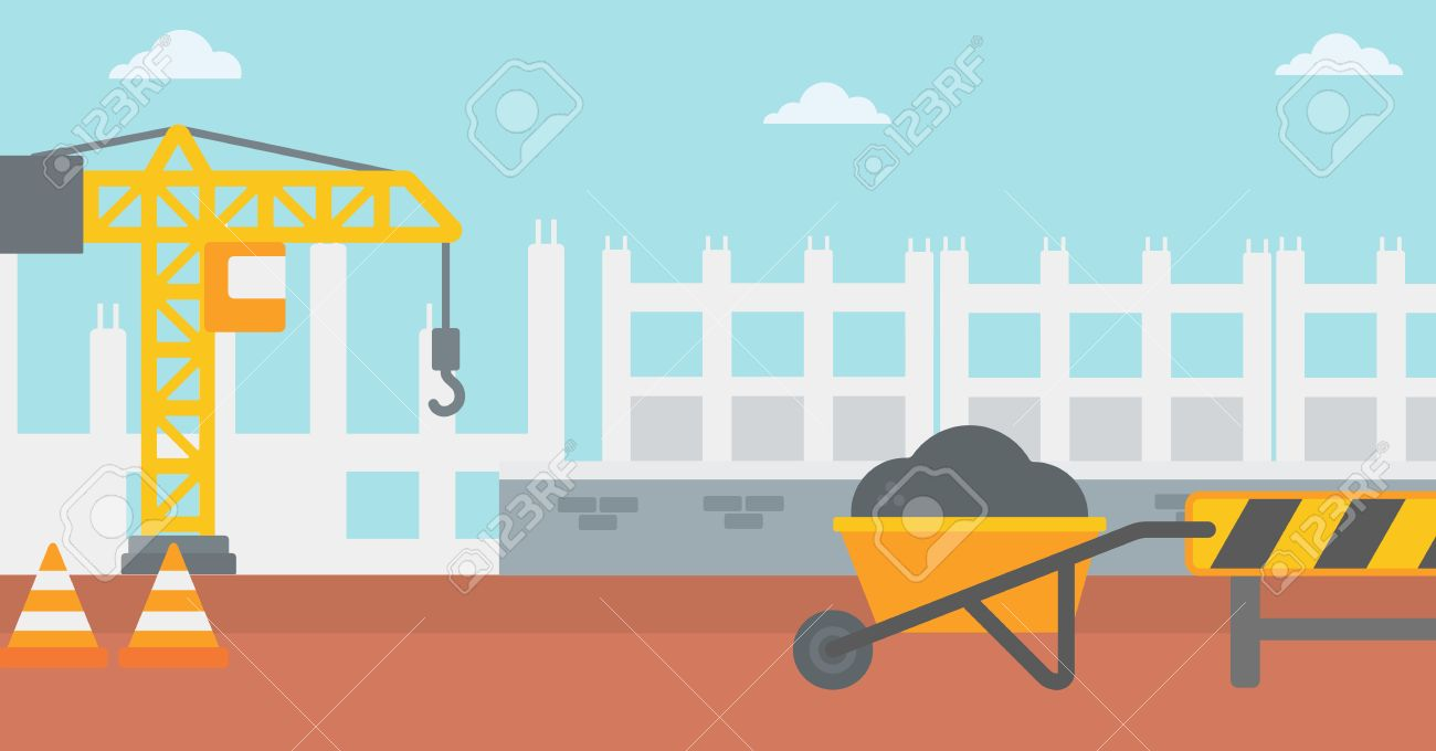 Background of construction site with road barriers and wheelbarrow...