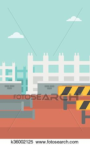 Background of construction site. Clipart.