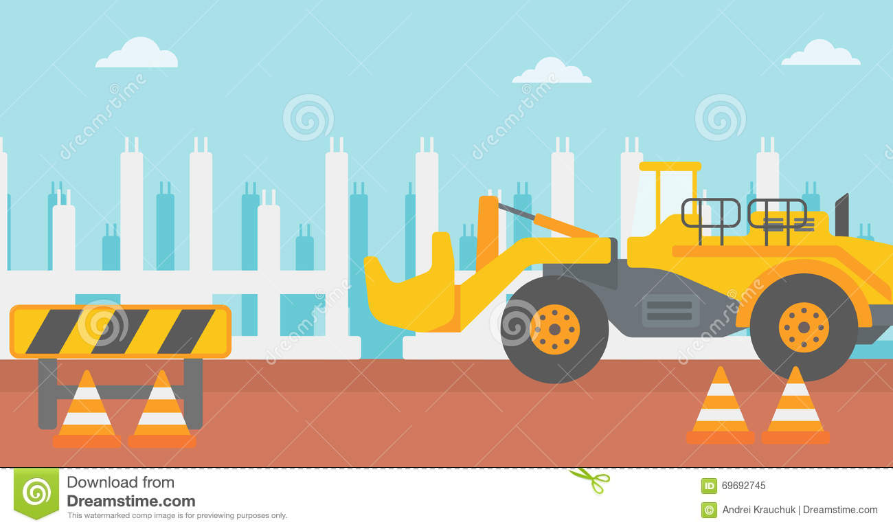 Background Of Excavator On Construction Site. Stock Vector.