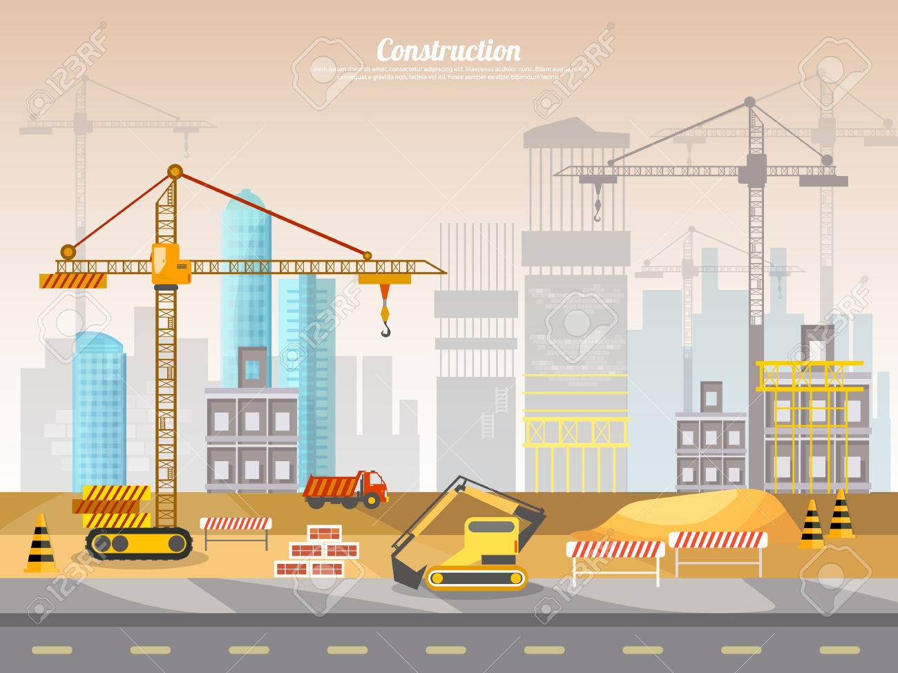 Construction site industrial background building a house vector...