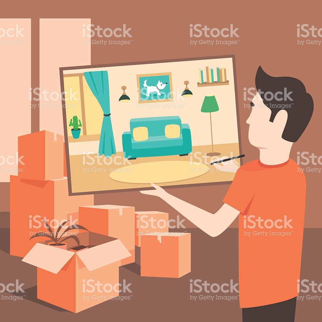 The Artist Draws An Apartment Before The Move Flat Illustration.