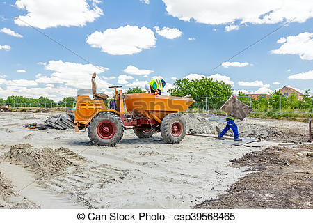Stock Image of Small tipper, construction vehicle, container.