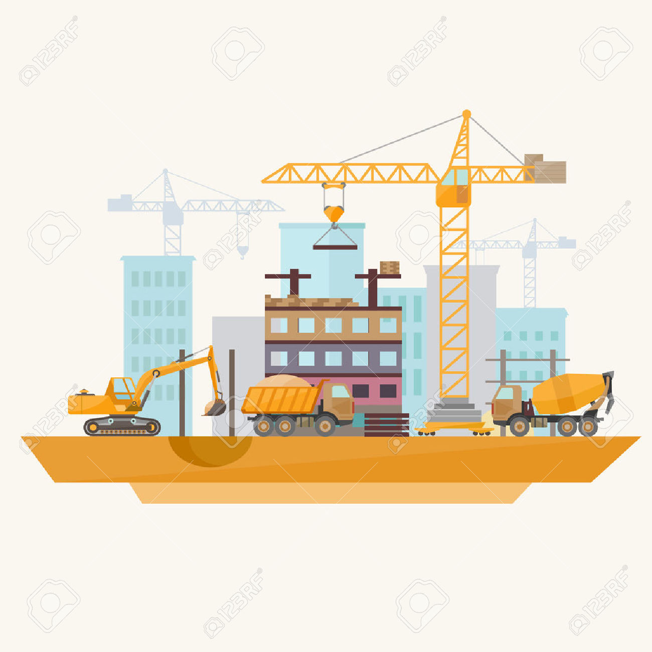Construction Of Modern Buildings. Flat Design. Royalty Free.