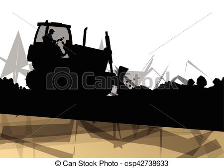 Vectors of Digger excavator machinery digging action in.