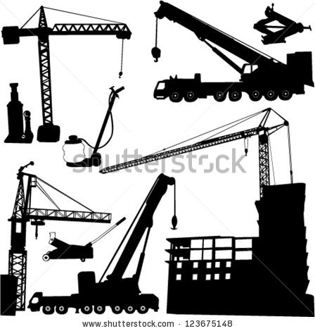 Construction Objects Vector Crane Worker Building Stock Vector.